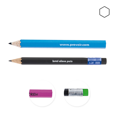 Crayon publicitaire hexagonal vernis couleur - Eco 8,7 cm