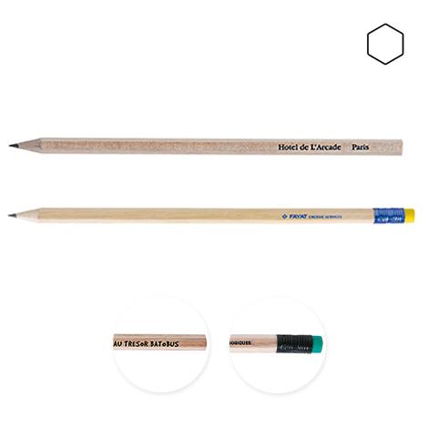 Crayon publicitaire hexagonal sans vernis - Eco 17,6 cm