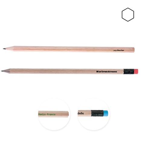 Crayon promotionnel hexagonal vernis incolore - Eco 17,6 cm