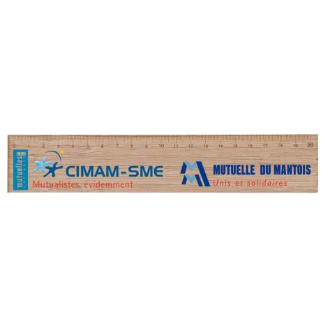Règle en bois publicitaire vernis incolore 20 ou 30 cm