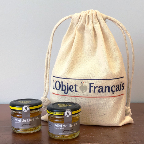 Coffrets 4 petits pots de miel pochon personnalisé - 25gr